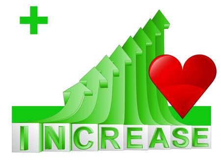love or medical stats on green rising arrow graph vector illustration Vector