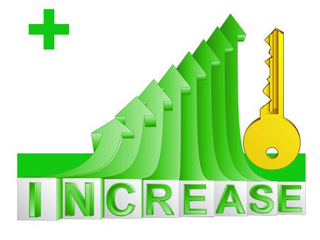 gain access: golden key on green rising arrow graph vector illustration