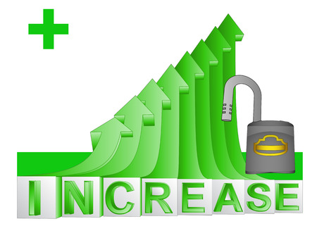 gain access: opened padlock on green rising arrow graph vector illustration Illustration