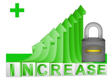 gain access: closed padlock on green rising arrow graph vector illustration Illustration