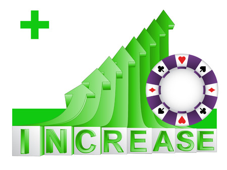 poker chip on green rising arrow graph vector illustration Vector