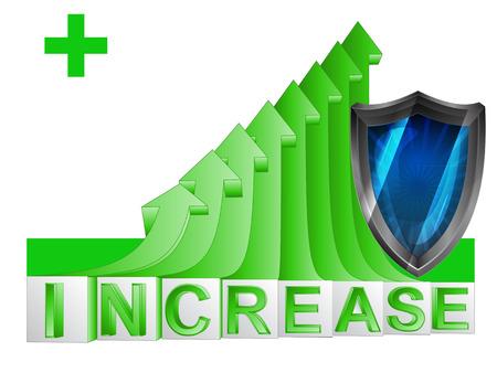 security shield on green rising arrow graph vector illustration 向量圖像