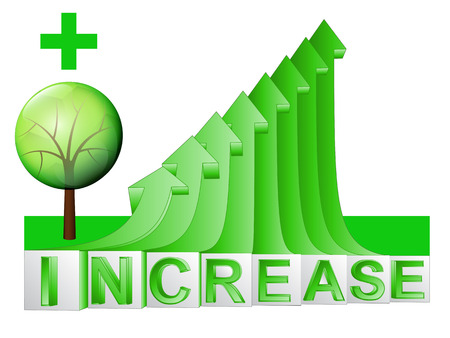 leafy tree on green rising arrow graph illustration Vector
