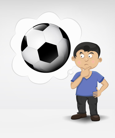 standing young boy thinking about soccer ball vector illustration Vector