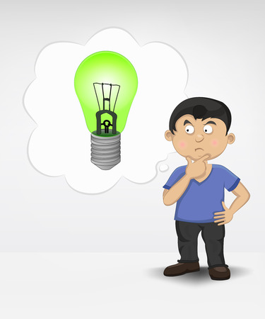 standing young boy thinking about renewable energy vector illustration Vector