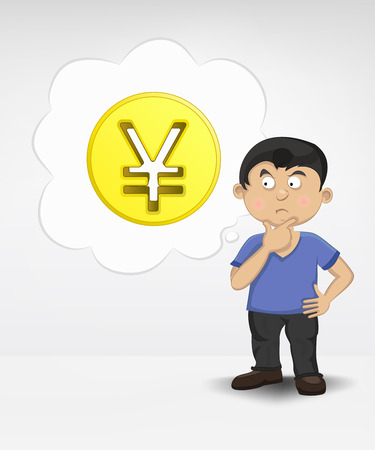 standing young boy thinking about Yuan money business vector illustration Vector