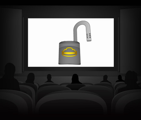 privacy protection advertisement as cinema projection vector illustration
