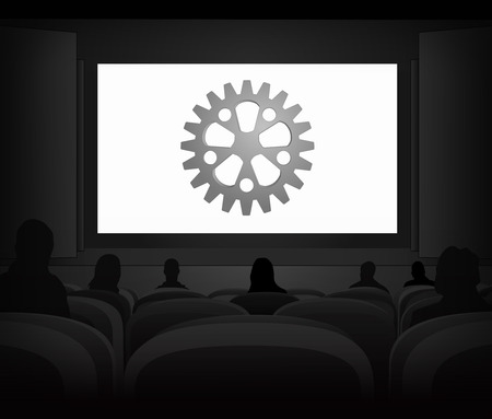 power projection: industrial advertisement as cinema projection vector illustration