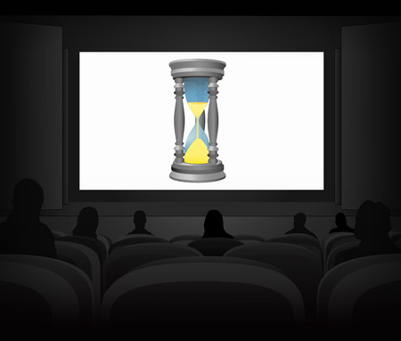 time running advertisement as cinema projection vector illustration Vector