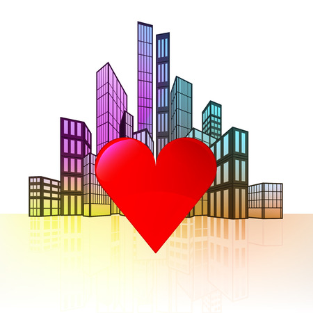 love heart with colorful cityscape silhouette behind vector illustration Vector