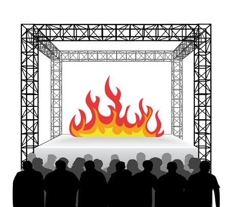inferno: fire inferno on festival stage with spectators isolated on white vector illustration