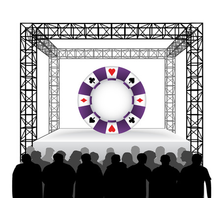 poker chip on festival stage with spectators isolated on white vector illustration Vector