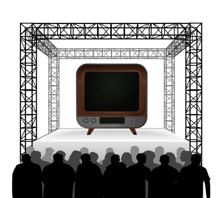 television channel on festival stage with spectators isolated on white vector illustration Vector