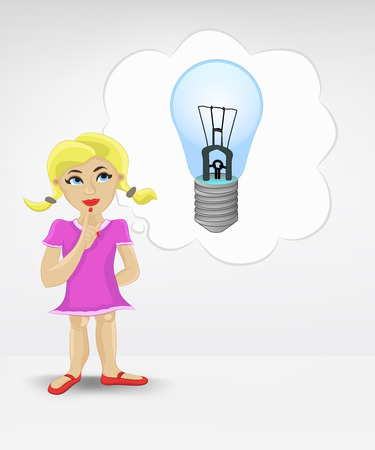 inventions: standing young girl thinking about new inventions vector illustration
