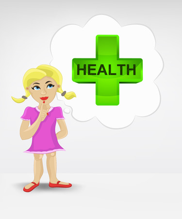 standing young girl thinking about health vector illustration Vector