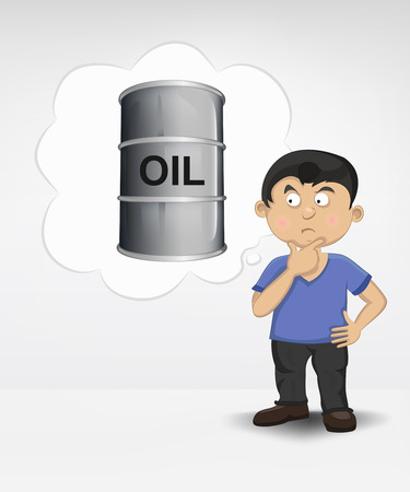 standing young boy thinking about oil commodity vector illustration Vector