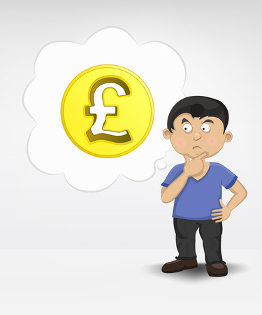 standing young boy thinking about Pound money business vector illustration Vector