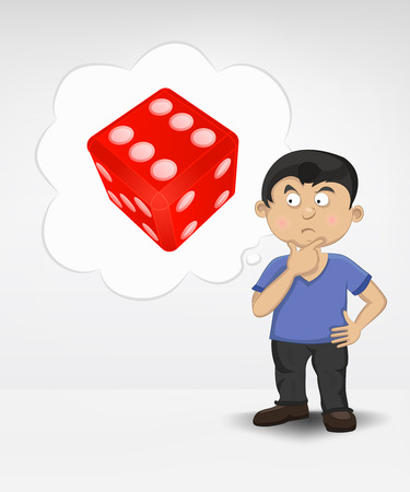 standing young boy thinking about craps vector illustration Illustration