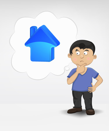 standing young boy thinking about new house vector illustration Vector