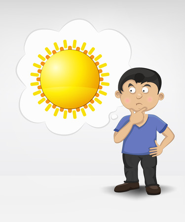 standing young boy thinking about summer sun vector illustration Vector