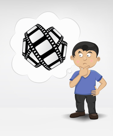 standing young boy thinking about movie vector illustration Vector
