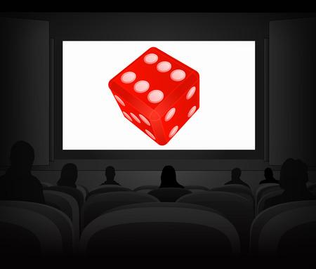 advertisement: Gl�ck Werbung als Kino-Projektions Vektor-Illustration