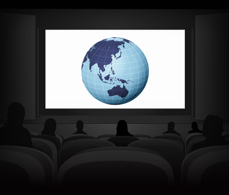 Asia travel advertisement as cinema projection vector illustration Vector