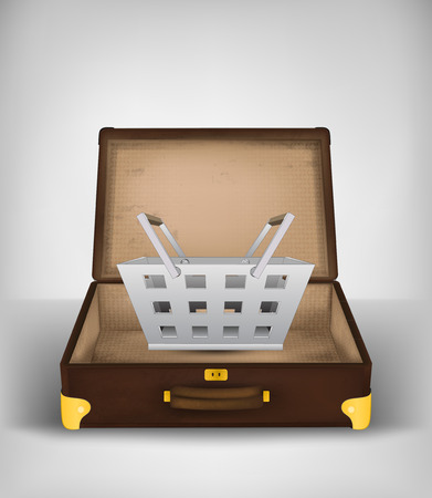 trade secret: shopping basket in open travel suitcase as trip buy concept vector illustration