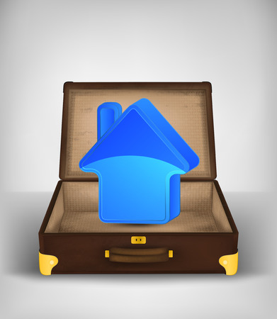 accomodation icon in open travel suitcase transport concept vector illustration Illustration