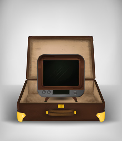 mass storage: retro television in open travel suitcase transport concept vector illustration Illustration