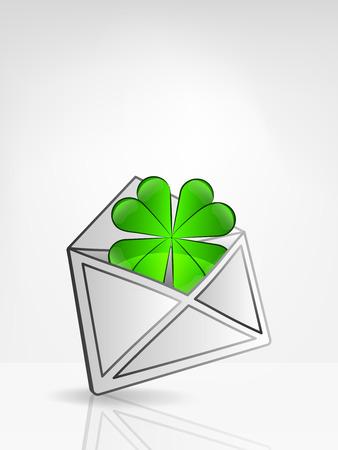 felicity: green cloverleaf in opened white envelope or email message vector illustration