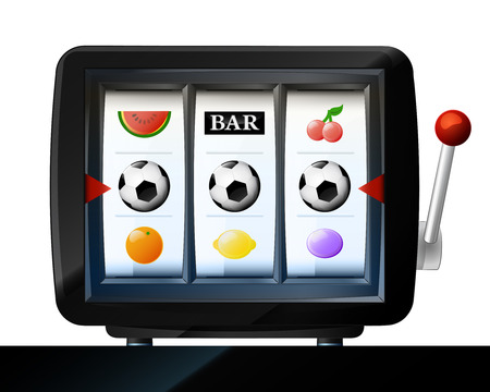 three soccer ball items on play machine frame vector illustration