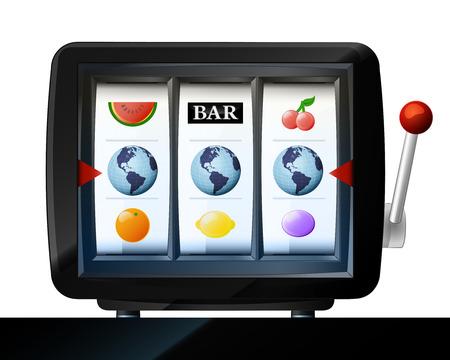 plum island: three America globe items on play machine as winning vector illustration Illustration