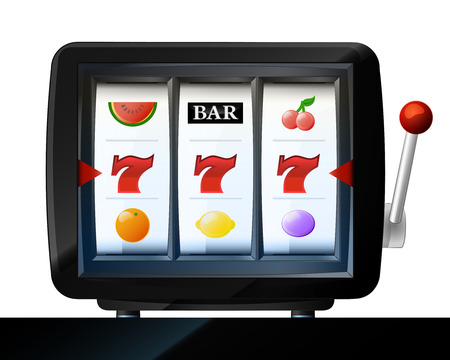 three seven signs on play machine frame vector illustration