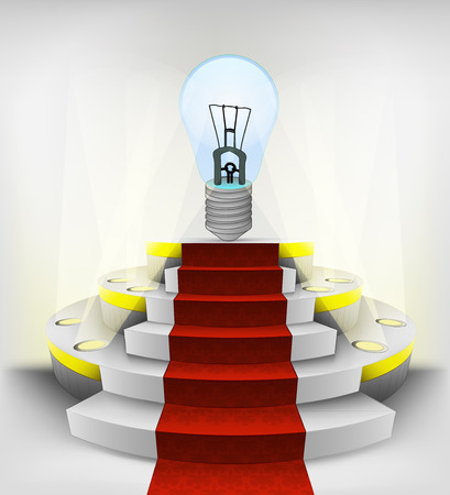 intelligence exhibition on round illuminated podium vector illustration Vector