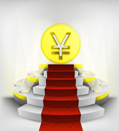 yuan: yuan business exhibition on round illuminated podium vector illustration