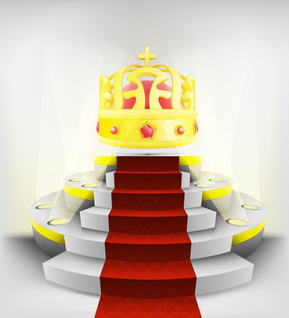 royal exhibition on round illuminated podium vector illustration Vector