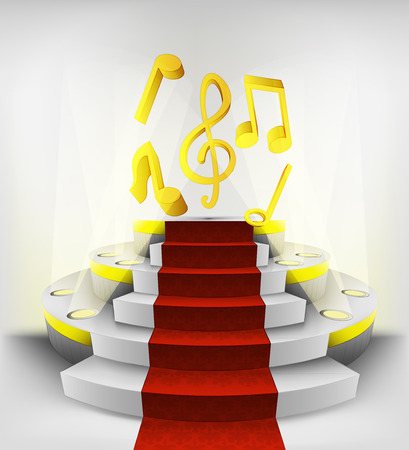 music exhibition on round illuminated podium vector illustration Vector