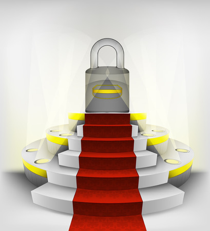 security exhibition on round illuminated podium vector illustration Vector