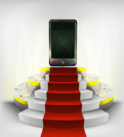 new smart phone exhibition on round illuminated podium vector illustration Vector