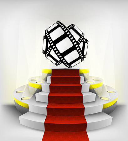 movie tape roll exhibition on round illuminated podium vector illustration Vector