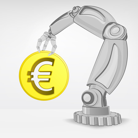 golden Euro coin hold by automated robotic hand vector illustration Stock Vector - 26637697