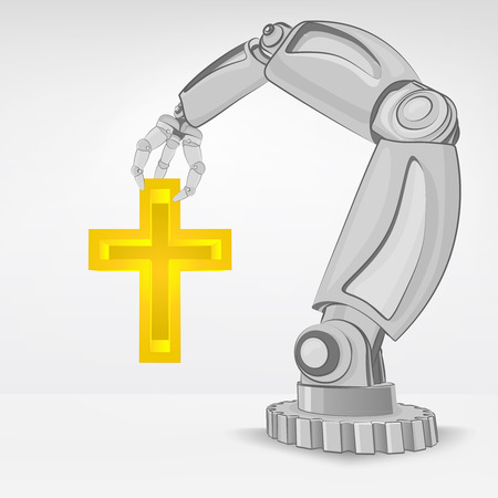 automated: golden cross hold by automated robotic hand vector illustration