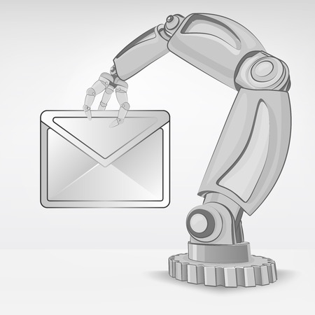 email message hold by automated robotic hand vector illustration Stock Vector - 26637699