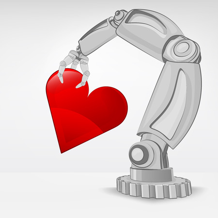 cybernetics: artificial heart hold by automated robotic hand vector illustration
