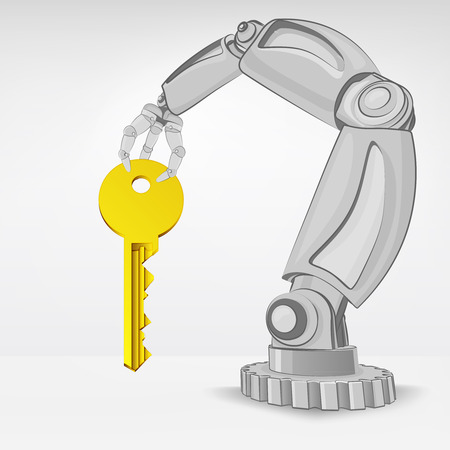 automated: key to success hold by automated robotic hand vector illustration