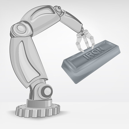 automated: crafted iron ingot hold by automated robotic hand vector illustration