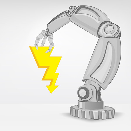 electric power hold by automated robotic hand vector illustration Stock Vector - 26637704