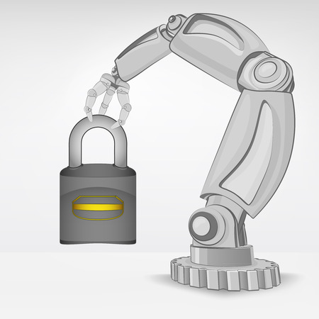 security padlock hold by automated robotic hand vector illustration Stock Vector - 26637703