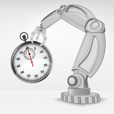 stopwatch hold by automated robotic hand vector illustration Stock Vector - 26637706